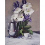 Iris with Teapot and Daisies, Art, Oil on Canvas, Home Decor