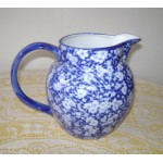 English Flow Blue Water Pitcher, Antique Home Decor, Collectible